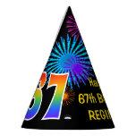 "[ Thumbnail: Fun Fireworks + Rainbow Pattern ""67"" Birthday # Party Hat ]"