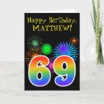 "[ Thumbnail: Fun Fireworks + Rainbow Pattern ""69"" Birthday # Card ]"