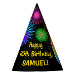 "[ Thumbnail: Fun Fireworks + Rainbow Pattern ""69"" Birthday # Party Hat ]"
