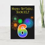 "[ Thumbnail: Fun Fireworks + Rainbow Pattern ""6"" Birthday # Card ]"