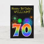 "[ Thumbnail: Fun Fireworks + Rainbow Pattern ""70"" Birthday # Card ]"