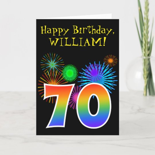 Fun Fireworks Rainbow Pattern 70 Birthday Card