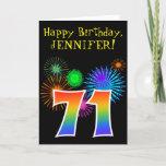 "[ Thumbnail: Fun Fireworks + Rainbow Pattern ""71"" Birthday # Card ]"