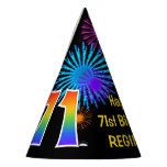 "[ Thumbnail: Fun Fireworks + Rainbow Pattern ""71"" Birthday # Party Hat ]"