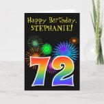 "[ Thumbnail: Fun Fireworks + Rainbow Pattern ""72"" Birthday # Card ]"