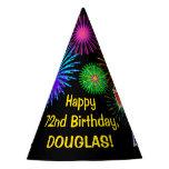 "[ Thumbnail: Fun Fireworks + Rainbow Pattern ""72"" Birthday # Party Hat ]"