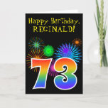 "[ Thumbnail: Fun Fireworks + Rainbow Pattern ""73"" Birthday # Card ]"