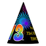 "[ Thumbnail: Fun Fireworks + Rainbow Pattern ""73"" Birthday # Party Hat ]"