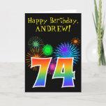 "[ Thumbnail: Fun Fireworks + Rainbow Pattern ""74"" Birthday # Card ]"