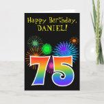 "[ Thumbnail: Fun Fireworks + Rainbow Pattern ""75"" Birthday # Card ]"