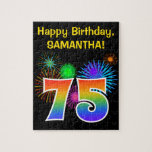 """Fun Fireworks   Rainbow Pattern &quot;75&quot; Birthday # Jigsaw Puzzle<br><div class=""""desc"""">This fun, vibrant puzzle design features a colorful celebratory fireworks inspired pattern, along with the number &quot;75&quot; featuring a multicolored rainbow like gradient pattern, on a black colored background. It also features a custom name and event message, such as a birthday greeting. A puzzle like this might be a fun...</div>"""