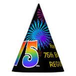 "[ Thumbnail: Fun Fireworks + Rainbow Pattern ""75"" Birthday # Party Hat ]"