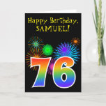"[ Thumbnail: Fun Fireworks + Rainbow Pattern ""76"" Birthday # Card ]"