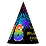 "[ Thumbnail: Fun Fireworks + Rainbow Pattern ""76"" Birthday # Party Hat ]"