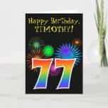 "[ Thumbnail: Fun Fireworks + Rainbow Pattern ""77"" Birthday # Card ]"