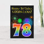 "[ Thumbnail: Fun Fireworks + Rainbow Pattern ""78"" Birthday # Card ]"