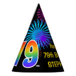 "[ Thumbnail: Fun Fireworks + Rainbow Pattern ""79"" Birthday # Party Hat ]"