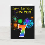 "[ Thumbnail: Fun Fireworks + Rainbow Pattern ""7"" Birthday # Card ]"