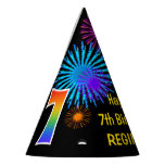 "[ Thumbnail: Fun Fireworks + Rainbow Pattern ""7"" Birthday # Party Hat ]"