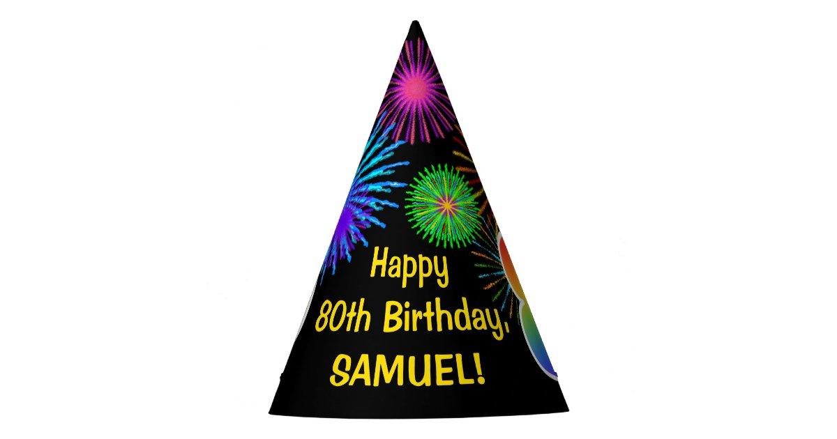 Fun Fireworks Rainbow Pattern 80 Birthday Party Hat