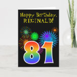 "[ Thumbnail: Fun Fireworks + Rainbow Pattern ""81"" Birthday # Card ]"