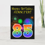"[ Thumbnail: Fun Fireworks + Rainbow Pattern ""85"" Birthday # Card ]"