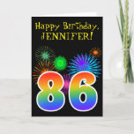 "[ Thumbnail: Fun Fireworks + Rainbow Pattern ""86"" Birthday # Card ]"