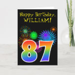 "[ Thumbnail: Fun Fireworks + Rainbow Pattern ""87"" Birthday # Card ]"