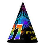 "[ Thumbnail: Fun Fireworks + Rainbow Pattern ""87"" Birthday # Party Hat ]"