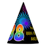 "[ Thumbnail: Fun Fireworks + Rainbow Pattern ""88"" Birthday # Party Hat ]"