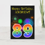 "[ Thumbnail: Fun Fireworks + Rainbow Pattern ""89"" Birthday # Card ]"
