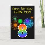 "[ Thumbnail: Fun Fireworks + Rainbow Pattern ""8"" Birthday # Card ]"