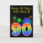 "[ Thumbnail: Fun Fireworks + Rainbow Pattern ""90"" Birthday # Card ]"