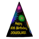 "[ Thumbnail: Fun Fireworks + Rainbow Pattern ""90"" Birthday # Party Hat ]"