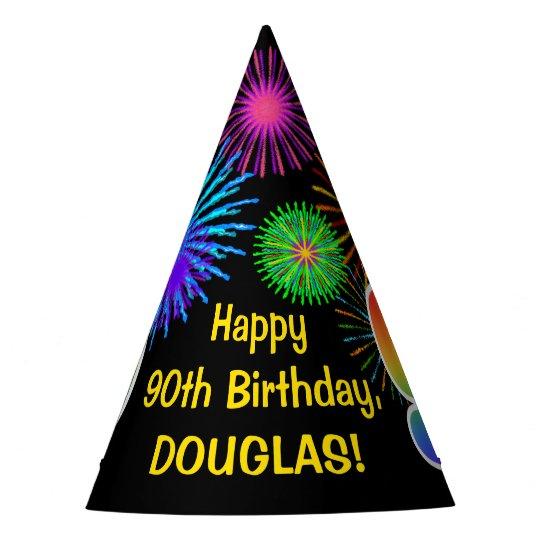Fun Fireworks Rainbow Pattern 90 Birthday Party Hat