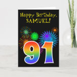 "[ Thumbnail: Fun Fireworks + Rainbow Pattern ""91"" Birthday # Card ]"