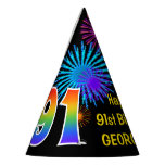 "[ Thumbnail: Fun Fireworks + Rainbow Pattern ""91"" Birthday # Party Hat ]"