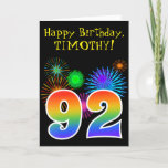 "[ Thumbnail: Fun Fireworks + Rainbow Pattern ""92"" Birthday # Card ]"