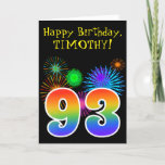 "[ Thumbnail: Fun Fireworks + Rainbow Pattern ""93"" Birthday # Card ]"