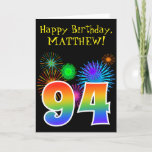 "[ Thumbnail: Fun Fireworks + Rainbow Pattern ""94"" Birthday # Card ]"