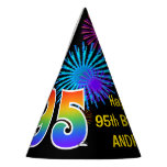 "[ Thumbnail: Fun Fireworks + Rainbow Pattern ""95"" Birthday # Party Hat ]"
