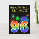 "[ Thumbnail: Fun Fireworks + Rainbow Pattern ""96"" Birthday # Card ]"