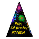"[ Thumbnail: Fun Fireworks + Rainbow Pattern ""96"" Birthday # Party Hat ]"