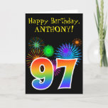 "[ Thumbnail: Fun Fireworks + Rainbow Pattern ""97"" Birthday # Card ]"
