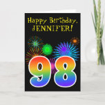 "[ Thumbnail: Fun Fireworks + Rainbow Pattern ""98"" Birthday # Card ]"