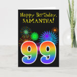 "[ Thumbnail: Fun Fireworks + Rainbow Pattern ""99"" Birthday # Card ]"