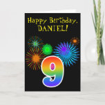 "[ Thumbnail: Fun Fireworks + Rainbow Pattern ""9"" Birthday # Card ]"