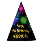 "[ Thumbnail: Fun Fireworks + Rainbow Pattern ""9"" Birthday # Party Hat ]"