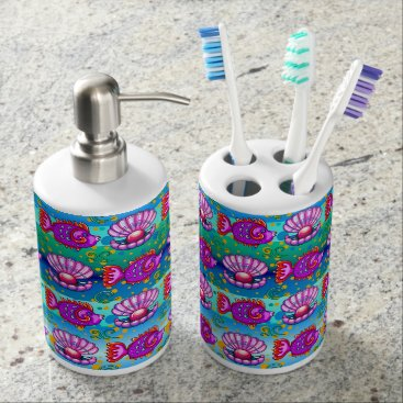 Professional Business Fun Fish Toothbrush Holder and Soap Dispenser Set