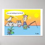 Fun fisherman cartoon poster